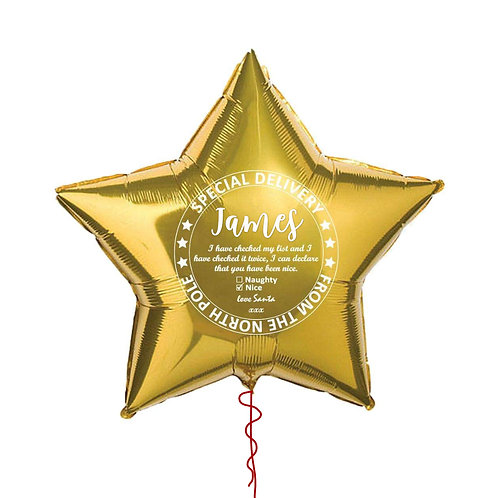 18 Inch Christmas Eve Gold Star Foil Balloon Personalised