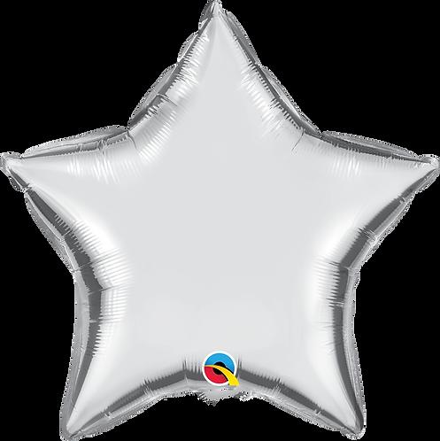 18 Inch Silver Plain Star Foil Balloon