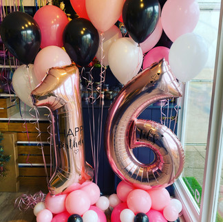 16th Birthday - Large rose gold numbers personalised on a pink, black and white balloon base, with matching helium latex balloon bouquets