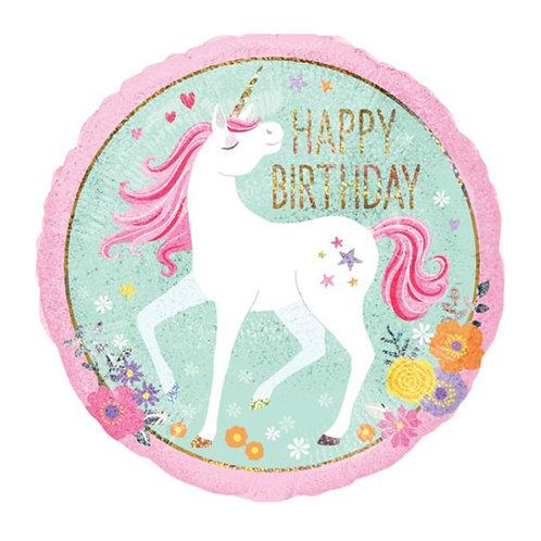 18 Inch Birthday Magical Unicorn Holographic Foil Balloon