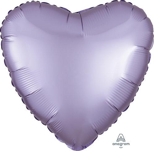 18 Inch Lilac Heart Foil Balloon, Satin Luxe