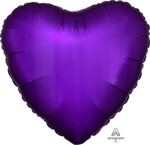 18 Inch Purple Royale Heart Foil Balloon, Satin Luxe