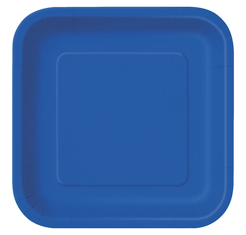 Dark Blue Square Paper Plates 14pk (23cm)