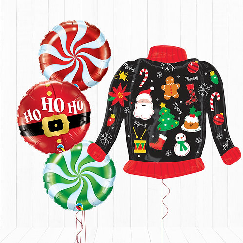 Christmas Jumper - Helium Inflated Foil Balloon Bouquet