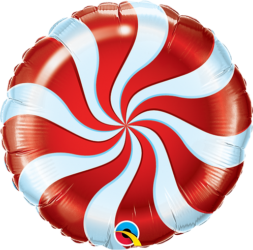 18 Inch Foil Balloon Red Candy Swirl Sweets