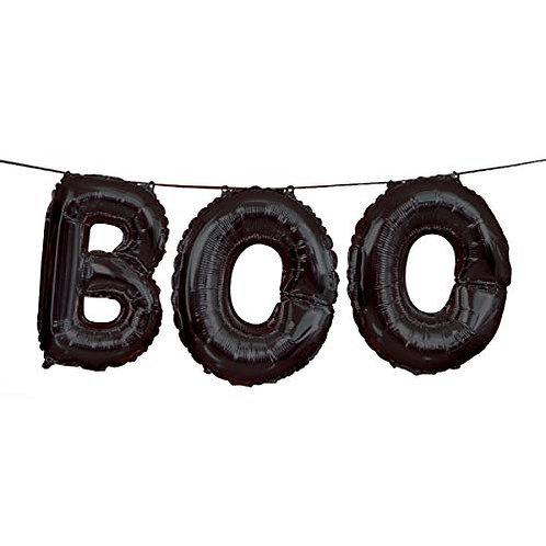 Foil Black BOO Halloween Letter Balloon Banner Kit