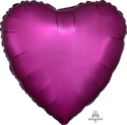 18 Inch Pomegranate Heart Foil Balloon, Satin Luxe