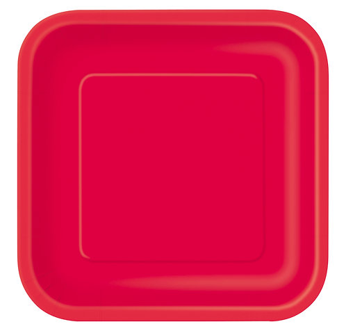 Red Square Paper Plates 14pk (23cm)