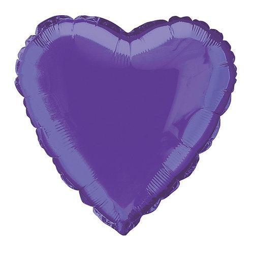 18 Inch Deep Purple Heart Foil Balloon