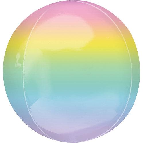 16 Inch Pastel Rainbow Ombre Orbz Foil Balloon
