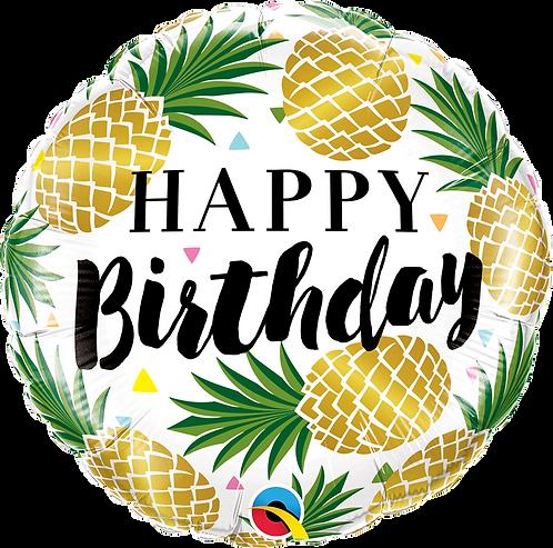 18 Inch Golden Pineapple Birthday Foil Balloon