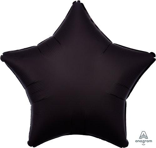 18 Inch Onyx Black Plain Star Foil Balloon, Matt Finish