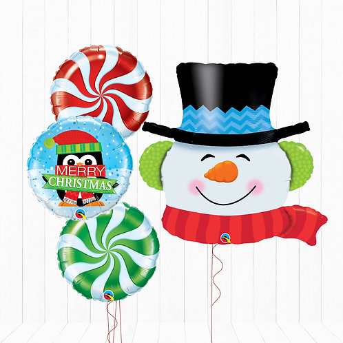Snowman - Helium Inflated Foil Balloon Bouquet