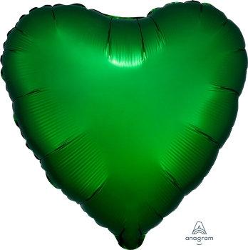 18 Inch Emerald Green Heart Foil Balloon, Satin Luxe