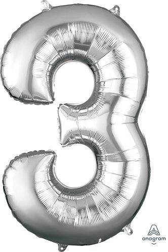 34 Inch Silver Foil Number Balloon