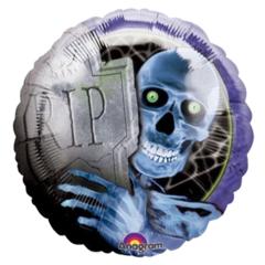 18 Inch Foil Balloon - Halloween RIP Skeleton