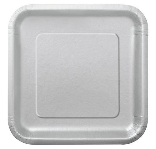 Silver Square Paper Plates 14pk (23cm)