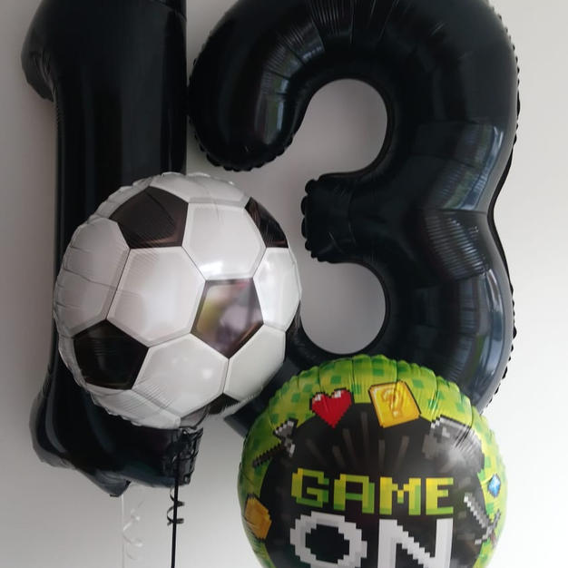 Large Black Number Balloons 13th Birthday Football and Gaming