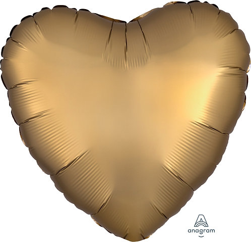 18 Inch Gold Heart Foil Balloon, Satin Luxe