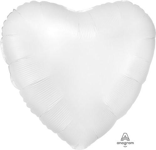 18 Inch White Heart Foil Balloon, Satin Luxe