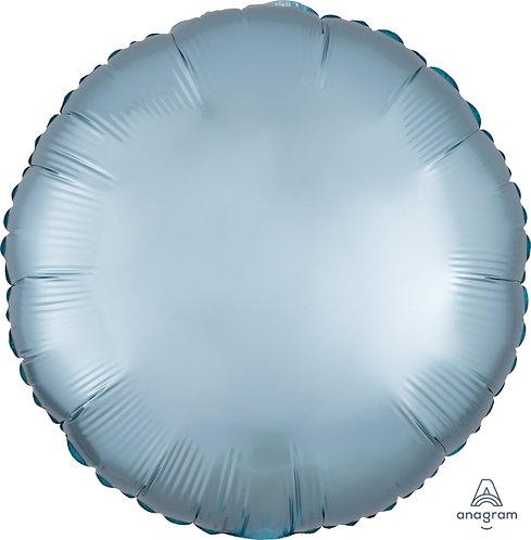 18 Inch Pastel Blue Round Foil Balloon, Satin Luxe