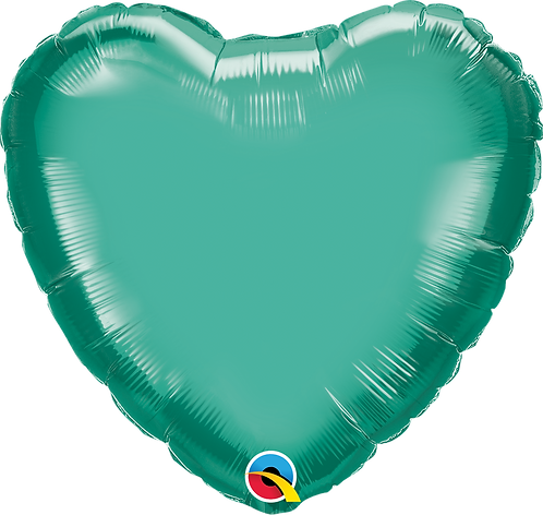 18 Inch Chrome Green Heart Foil Balloon