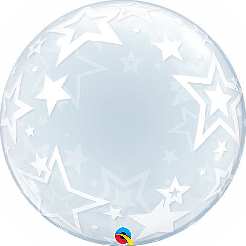 """24"""" Clear Bubble Balloon Printed - Stars"""