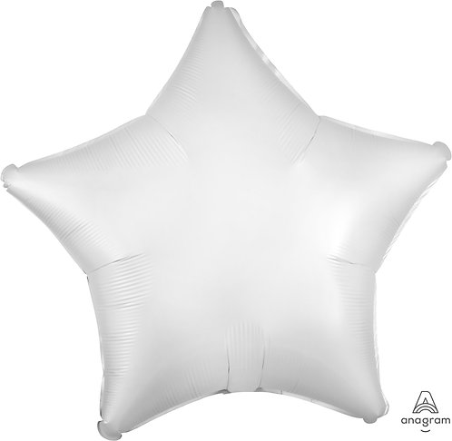 18 Inch White Plain Star Foil Balloon, Matt Finish