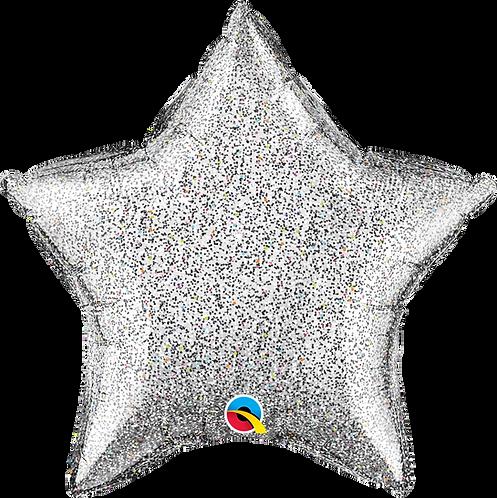 18 Inch Silver Glitter Star Foil Balloon