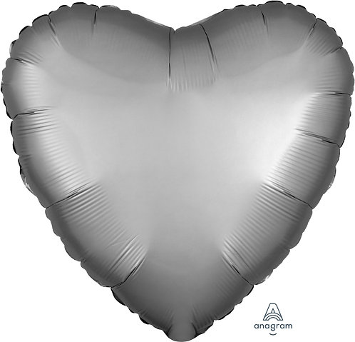 18 Inch Platinum Heart Foil Balloon, Satin Luxe
