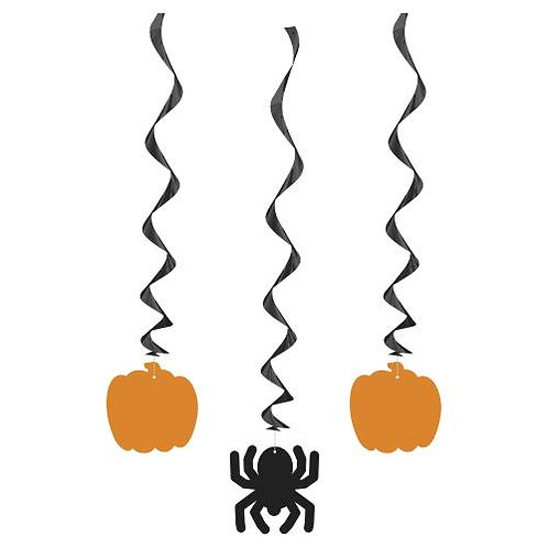 3 Halloween Hanging Swirl Decorations Spider & Pumpkin