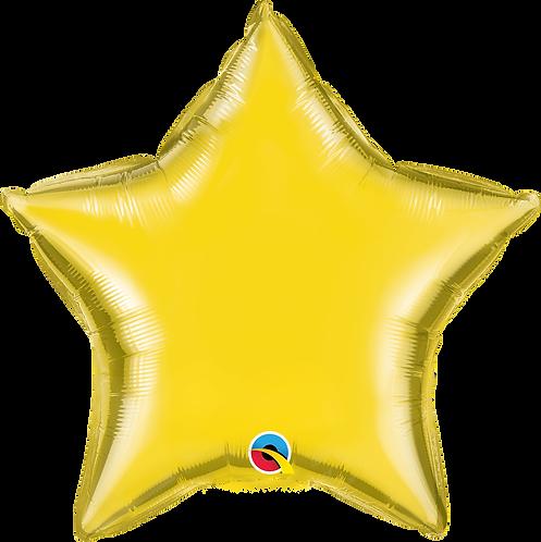 18 Inch Citrine Yellow Plain Star Foil Balloon