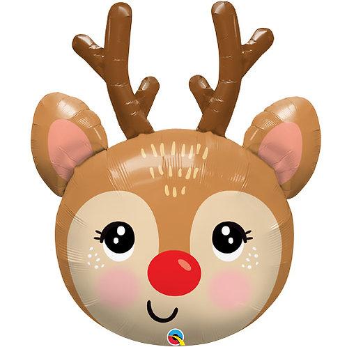 36 Inch Rudolf Reindeer Head Supershape Foil Balloon Helium Filled