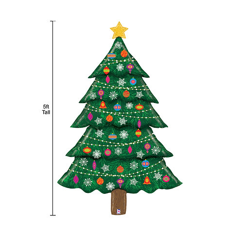 5ft/152cm Glitter Holographic Supershape Foil Balloon Christmas Tree