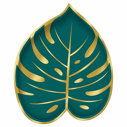 Paper plates Shaped 8pk - Palm leaf shaped