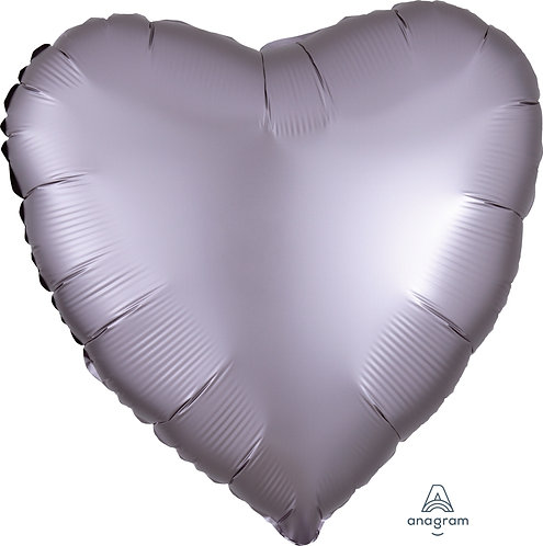18 Inch Greige Grey Heart Foil Balloon, Satin Luxe