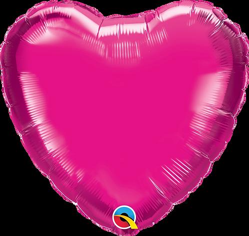 18 Inch Magenta Pink Heart Foil Balloon
