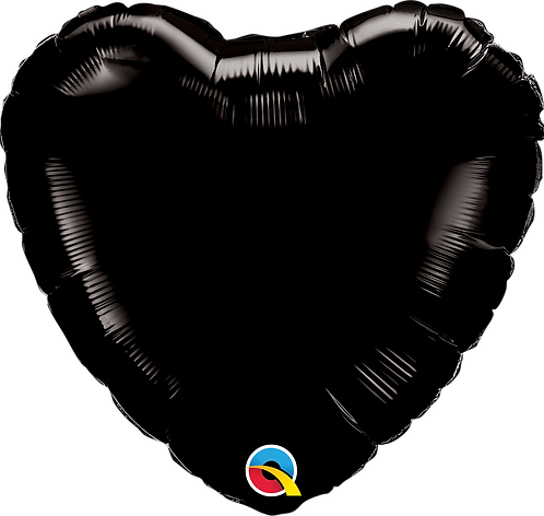 18 Inch Onyx Black Heart Foil Balloon