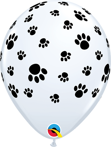 11 Inch Black and White Paw Print Latex Balloons