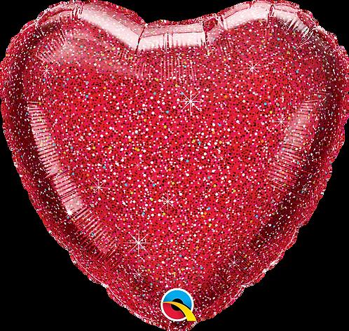 18 Inch Red Glittergraphic Heart Foil Balloon