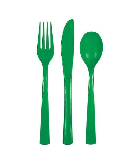 Dark Green Plastic Cutlery Set 18pk