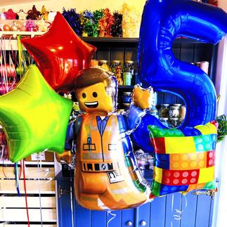 5th Birthday Lego Balloon Display, Emmet