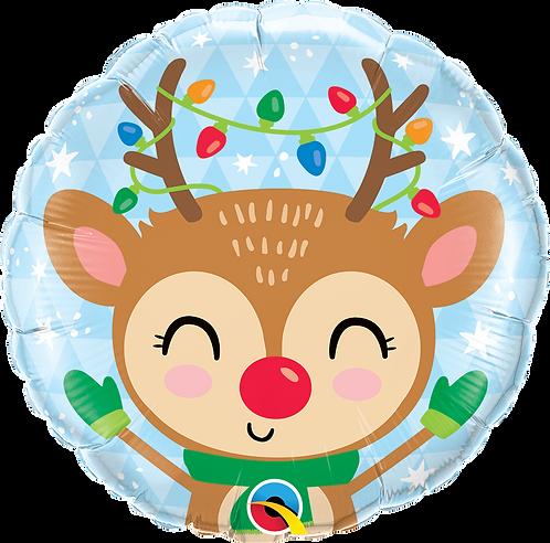 18 Inch Microfoil Round Balloon Reindeer