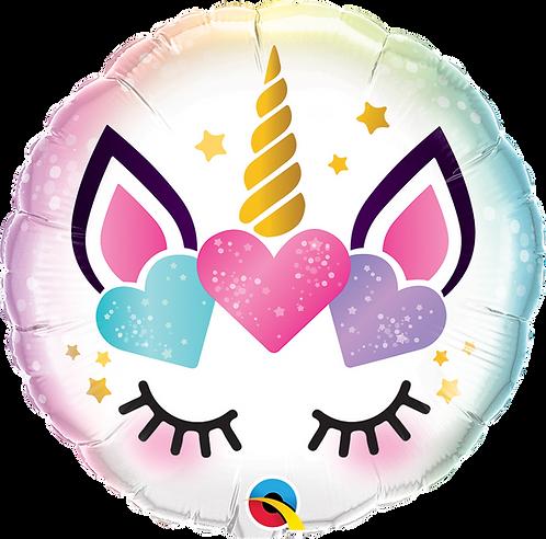 18 Inch Unicorn Eyelashes Round Foil Balloon