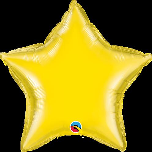 18 Inch Yellow Plain Star Foil Balloon