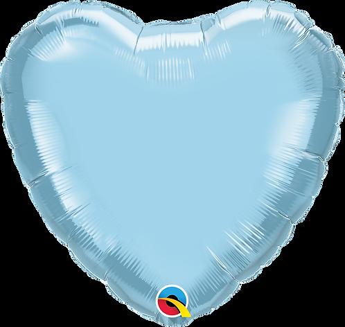 18 Inch Pearl Light Blue Heart Foil Balloon
