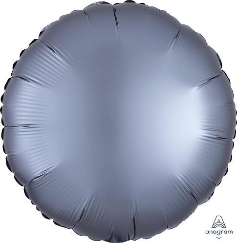18 Inch Graphite Grey Round Foil Balloon, Satin Luxe