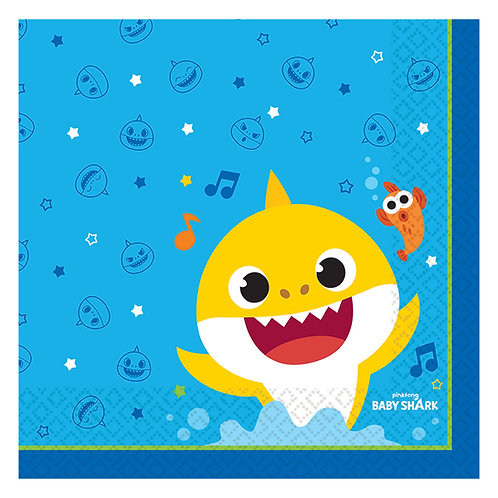 Baby Shark Paper Luncheon Napkins 33cm (Pack of 16)