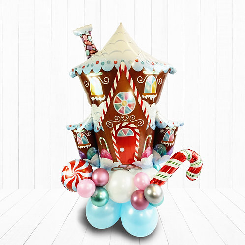Large Supershape Gingerbread House Balloon Design for Christmas