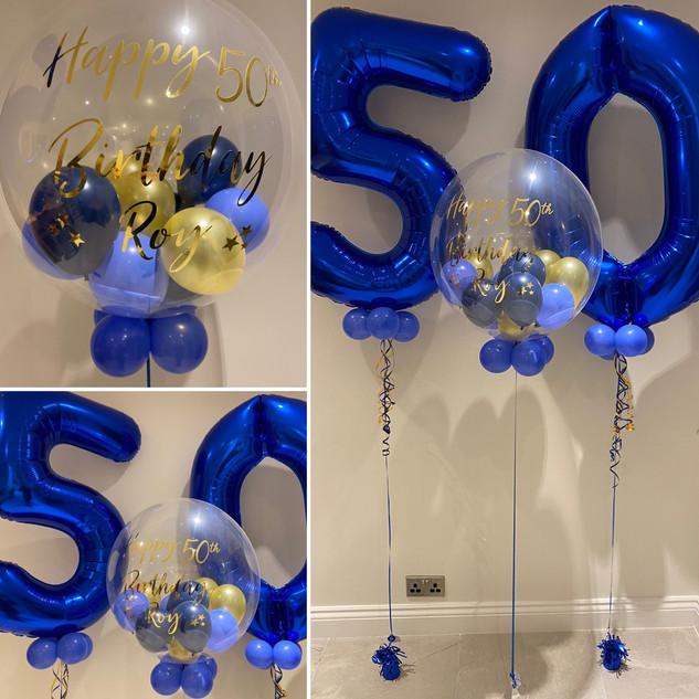 50th Birthday - Large blue helium number